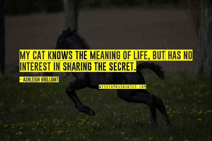 My Interest In Life Quotes By Ashleigh Brilliant: My cat knows the meaning of life, but