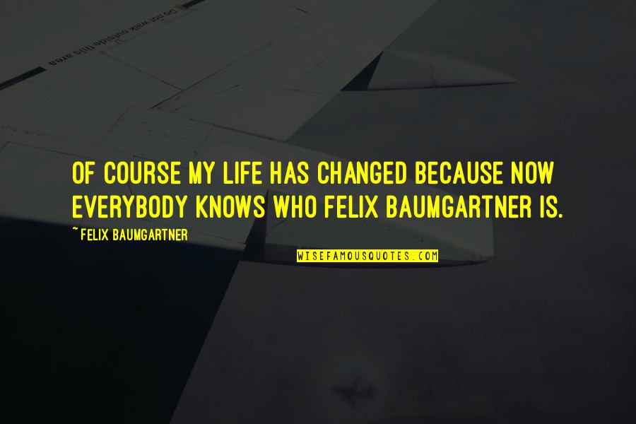 My Life Has Changed Quotes By Felix Baumgartner: Of course my life has changed because now