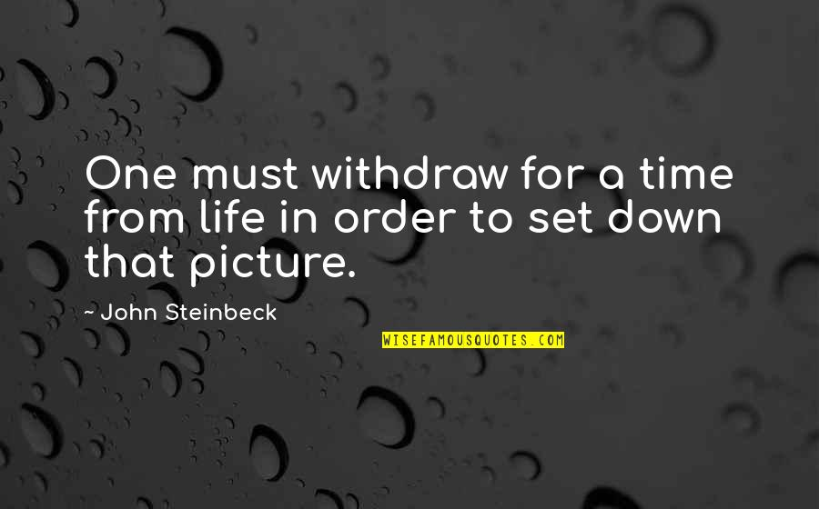 My Life In One Picture Quotes By John Steinbeck: One must withdraw for a time from life