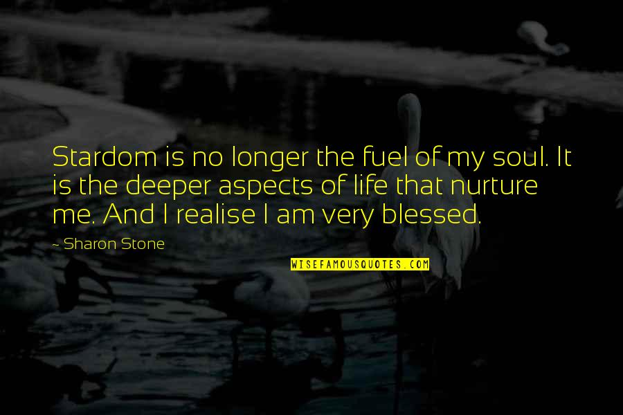 My Life Is Blessed Quotes By Sharon Stone: Stardom is no longer the fuel of my