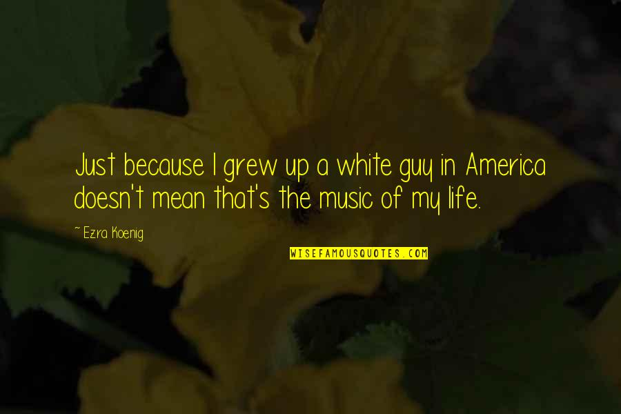 My Life Quotes By Ezra Koenig: Just because I grew up a white guy