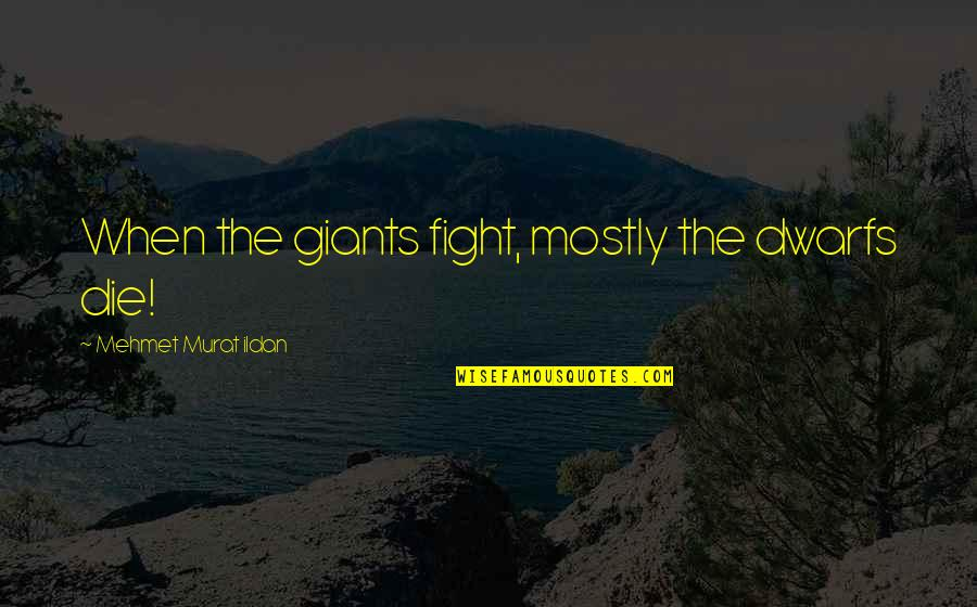 My Little Cousins Quotes By Mehmet Murat Ildan: When the giants fight, mostly the dwarfs die!