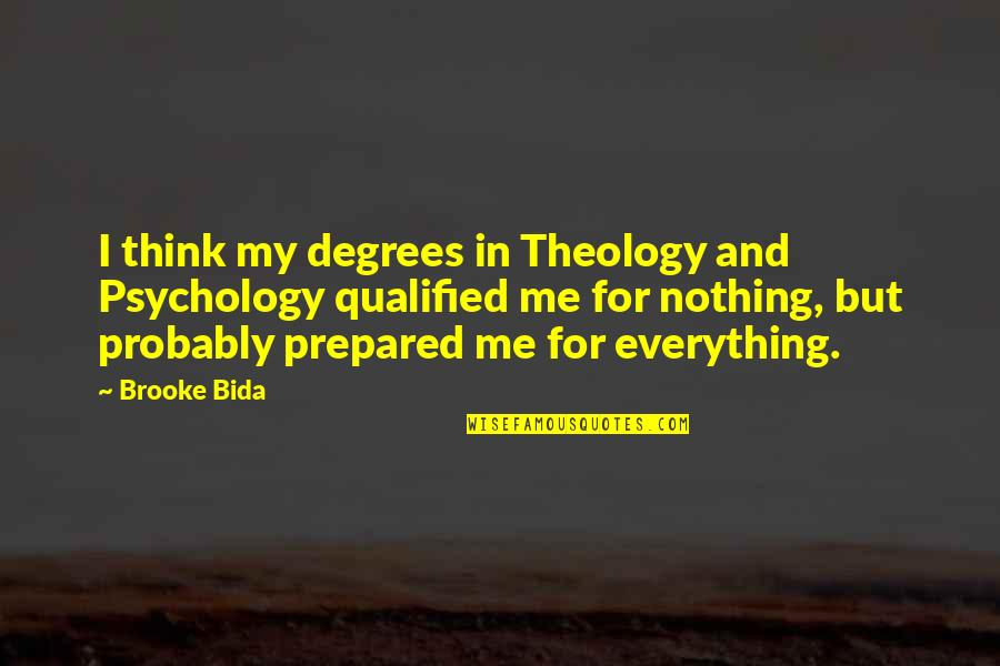 My Love For Quotes By Brooke Bida: I think my degrees in Theology and Psychology