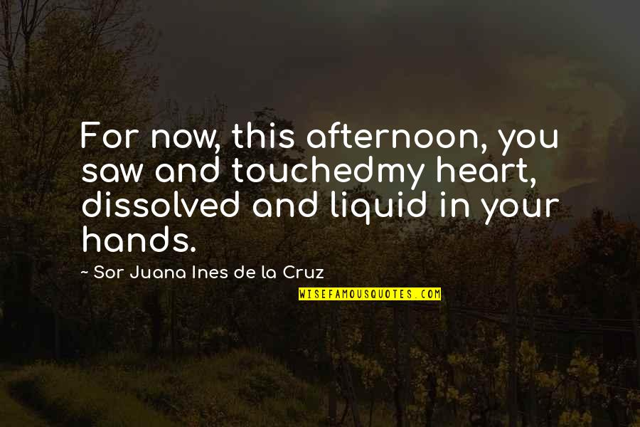 My Love For Quotes By Sor Juana Ines De La Cruz: For now, this afternoon, you saw and touchedmy