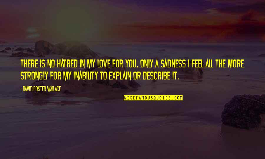 My Love For You Quotes By David Foster Wallace: There is no hatred in my love for