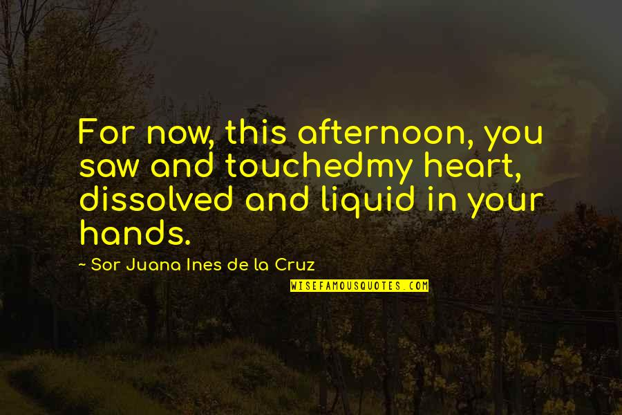My Love For You Quotes By Sor Juana Ines De La Cruz: For now, this afternoon, you saw and touchedmy