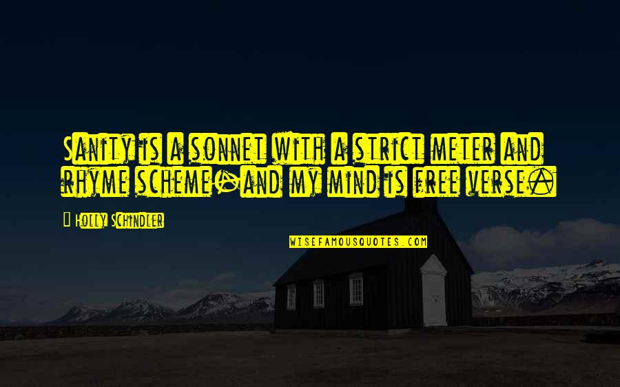 My Mind Quotes By Holly Schindler: Sanity is a sonnet with a strict meter