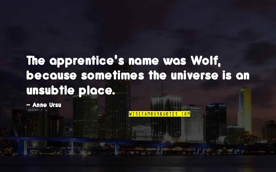 My Name Funny Quotes By Anne Ursu: The apprentice's name was Wolf, because sometimes the