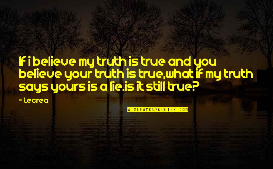 My New Phone Number Quotes By Lecrea: If i believe my truth is true and
