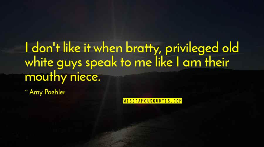My Niece Quotes By Amy Poehler: I don't like it when bratty, privileged old
