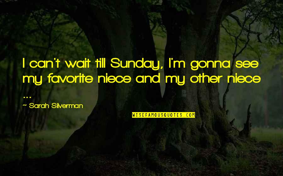 My Niece Quotes By Sarah Silverman: I can't wait till Sunday, I'm gonna see