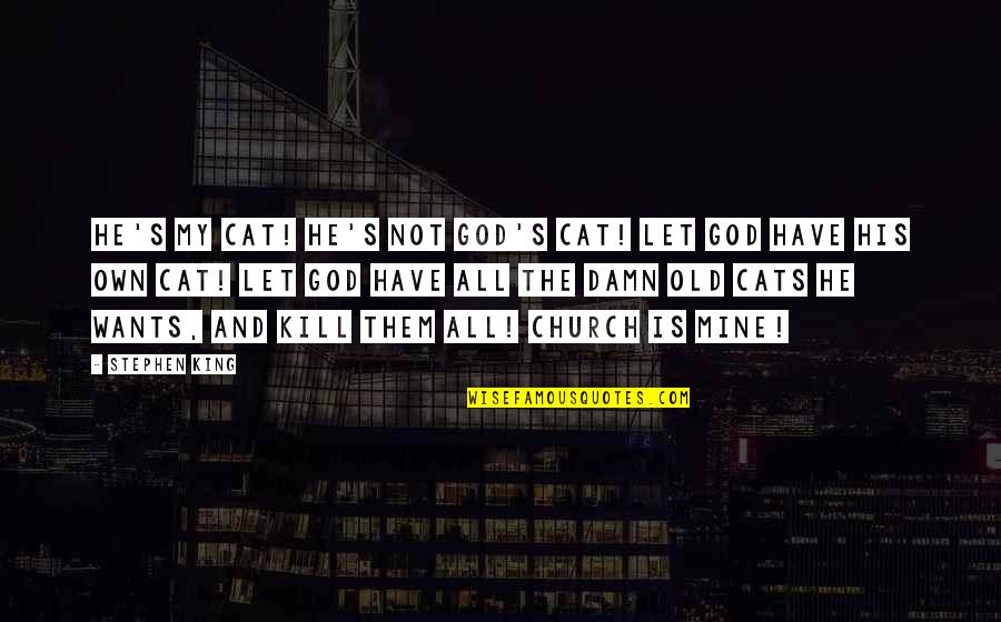 My Old Life Quotes By Stephen King: He's my cat! He's not God's cat! Let