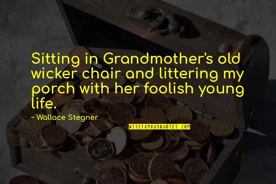 My Old Life Quotes By Wallace Stegner: Sitting in Grandmother's old wicker chair and littering