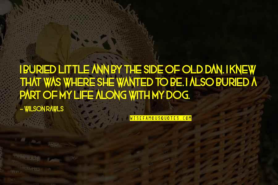 My Old Life Quotes By Wilson Rawls: I buried Little Ann by the side of