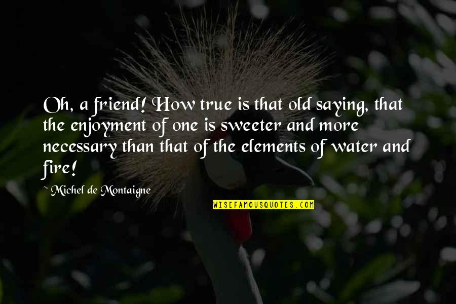 My Old True Love Quotes By Michel De Montaigne: Oh, a friend! How true is that old
