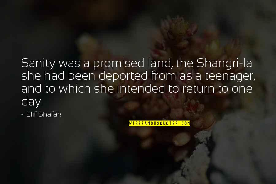 My Promised Land Quotes By Elif Shafak: Sanity was a promised land, the Shangri-la she
