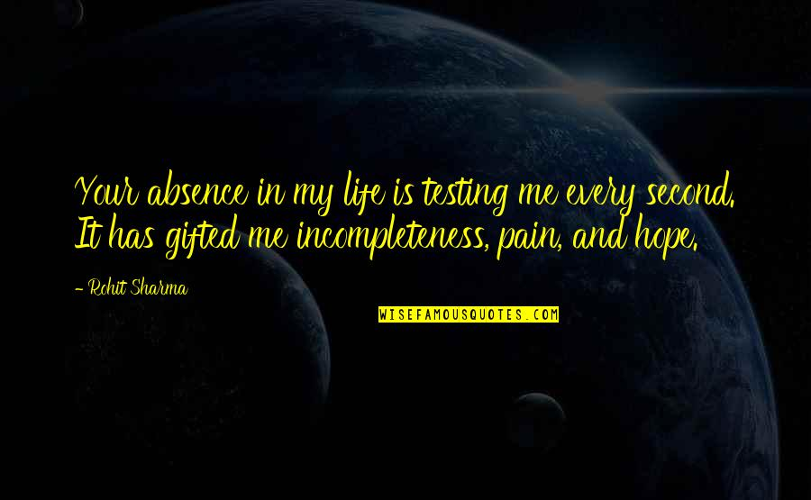 My Second Love Quotes By Rohit Sharma: Your absence in my life is testing me
