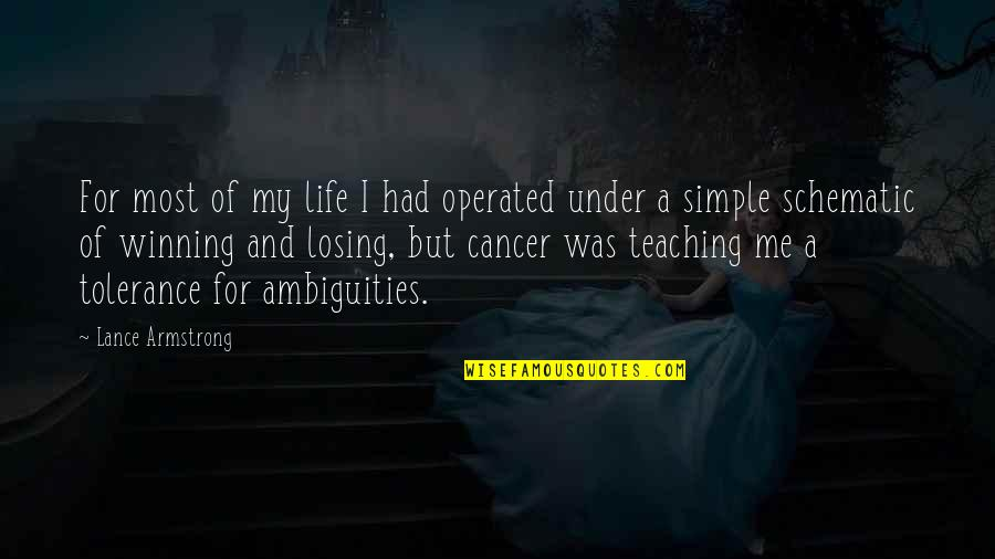 My Simple Life Quotes By Lance Armstrong: For most of my life I had operated