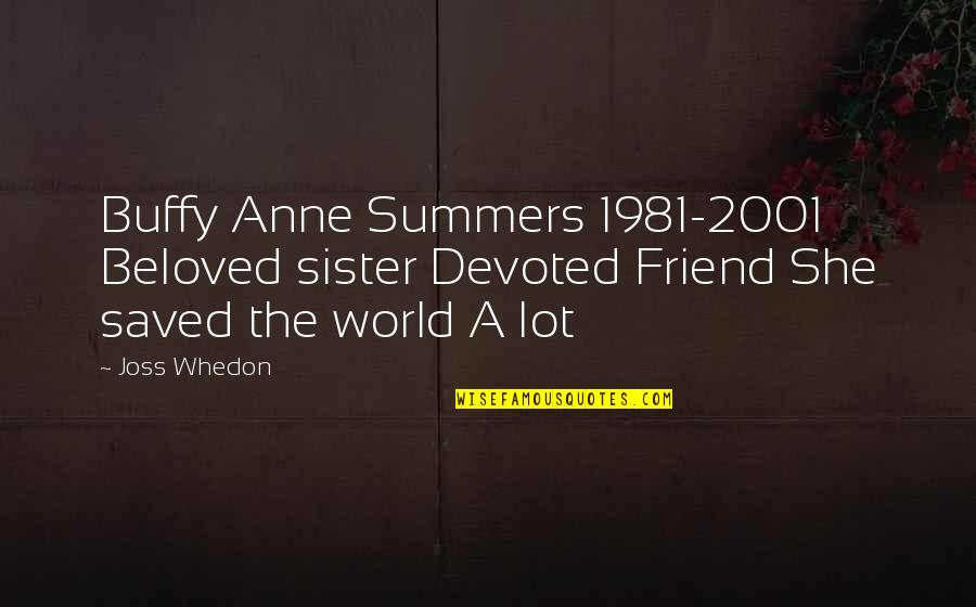 My Sister My Best Friend Quotes By Joss Whedon: Buffy Anne Summers 1981-2001 Beloved sister Devoted Friend