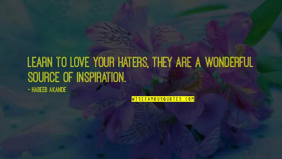 My Source Of Inspiration Quotes By Habeeb Akande: Learn to love your haters, they are a