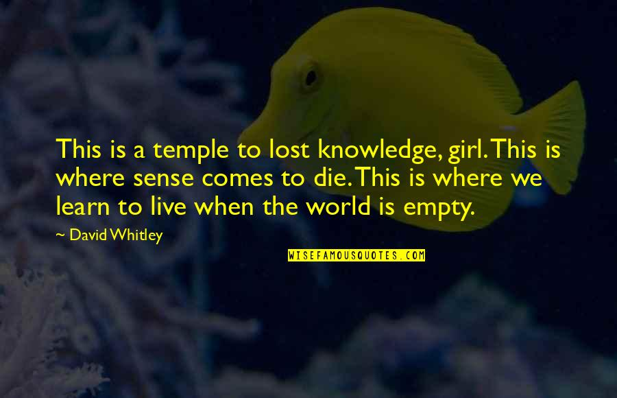 My World Is Empty Without You Quotes By David Whitley: This is a temple to lost knowledge, girl.