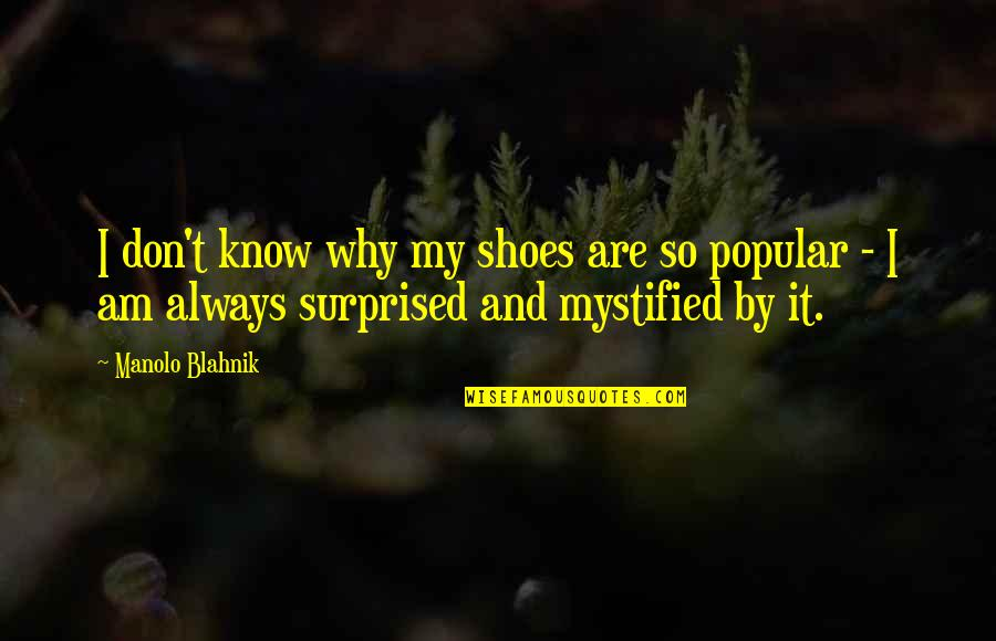 Mystified Quotes By Manolo Blahnik: I don't know why my shoes are so