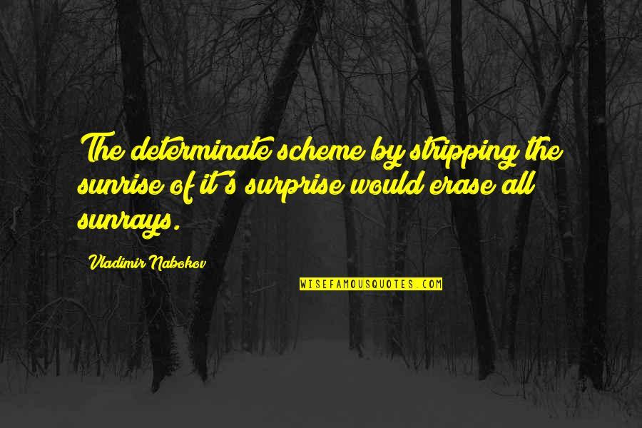 Nabokov Quotes By Vladimir Nabokov: The determinate scheme by stripping the sunrise of