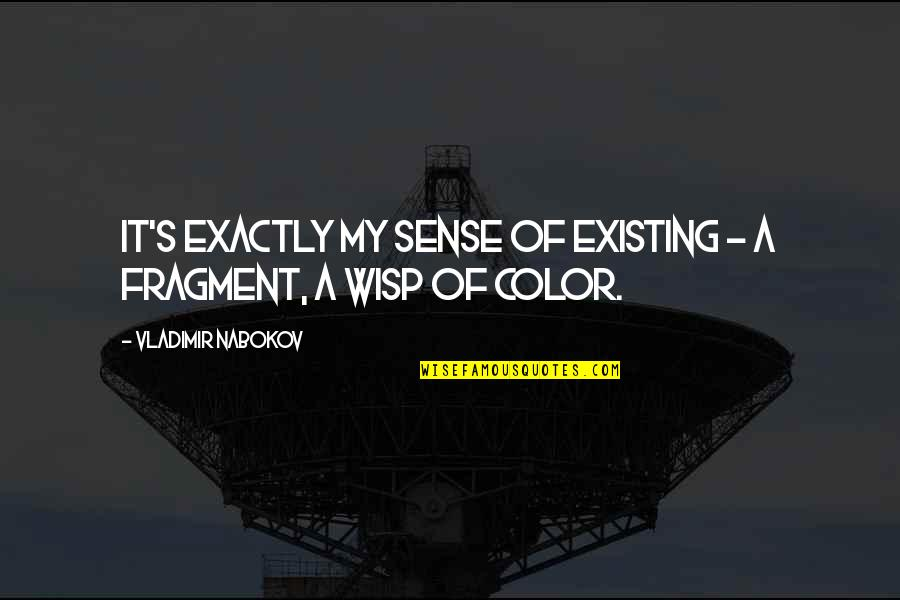 Nabokov Quotes By Vladimir Nabokov: It's exactly my sense of existing - a