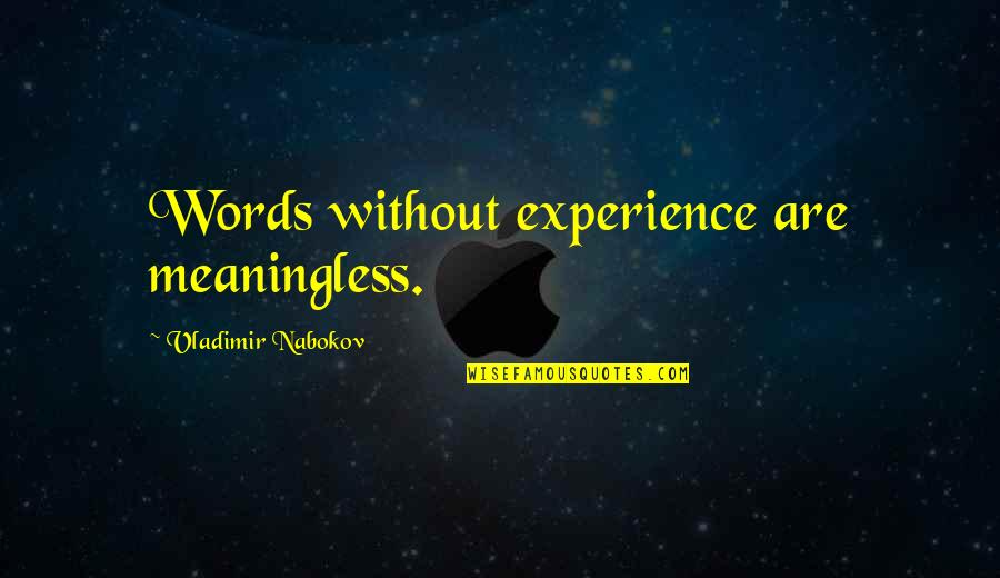Nabokov Quotes By Vladimir Nabokov: Words without experience are meaningless.