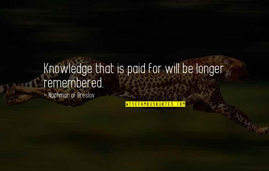 Nachman Of Breslov Quotes By Nachman Of Breslov: Knowledge that is paid for will be longer