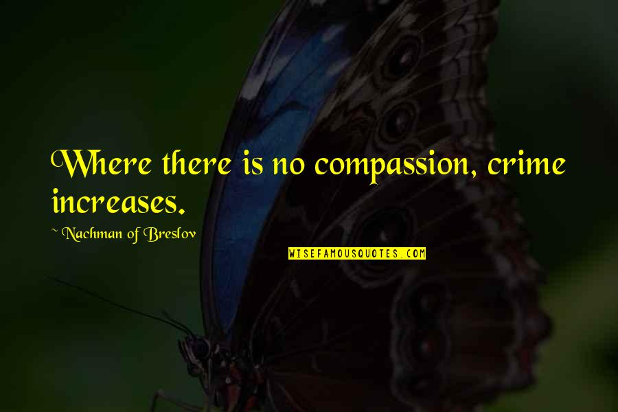Nachman Of Breslov Quotes By Nachman Of Breslov: Where there is no compassion, crime increases.