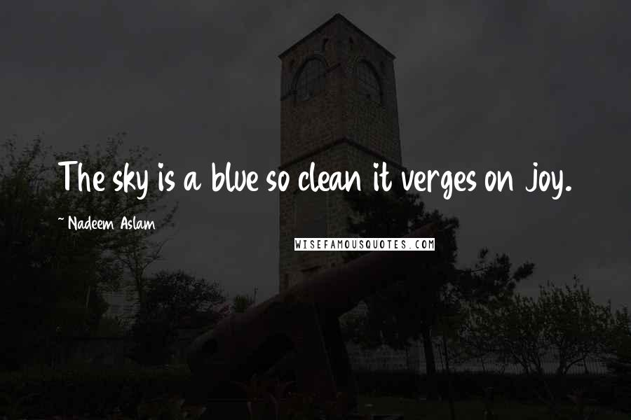 Nadeem Aslam quotes: The sky is a blue so clean it verges on joy.