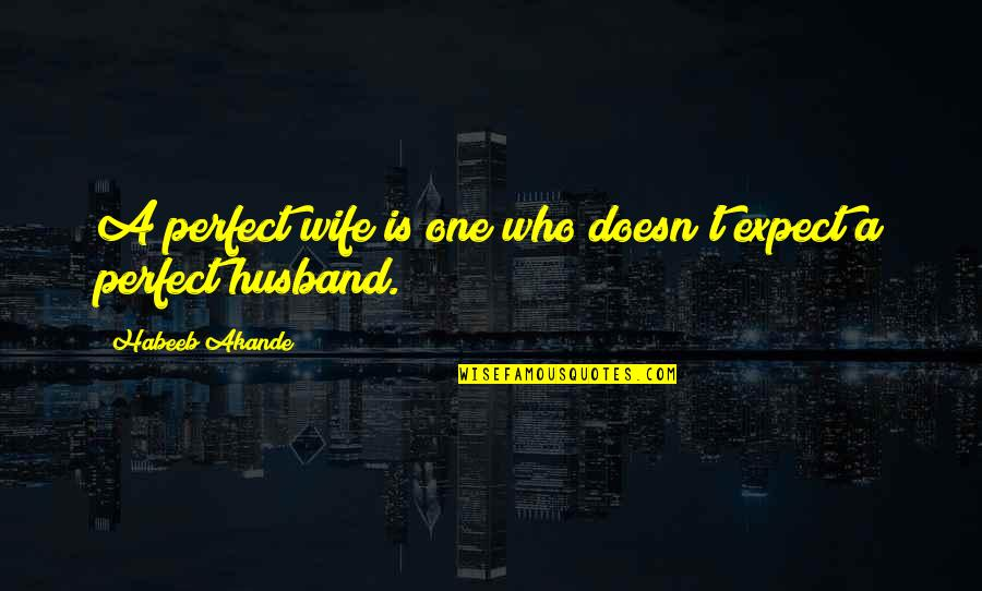 Nakalimutan Ang Monthsary Quotes By Habeeb Akande: A perfect wife is one who doesn't expect