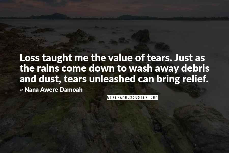 Nana Awere Damoah quotes: Loss taught me the value of tears. Just as the rains come down to wash away debris and dust, tears unleashed can bring relief.