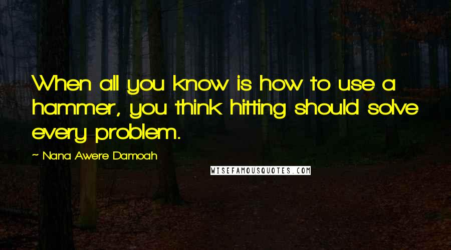 Nana Awere Damoah quotes: When all you know is how to use a hammer, you think hitting should solve every problem.