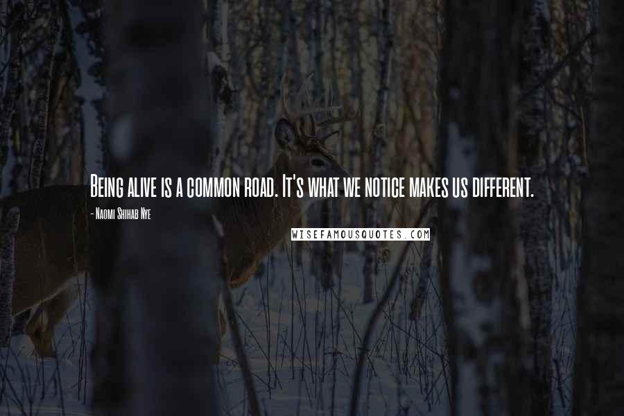 Naomi Shihab Nye quotes: Being alive is a common road. It's what we notice makes us different.