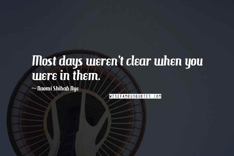 Naomi Shihab Nye quotes: Most days weren't clear when you were in them.