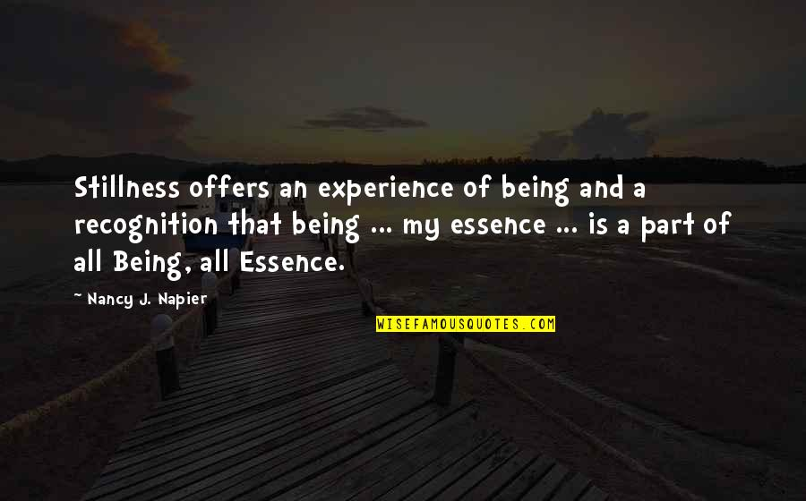 Napier Quotes By Nancy J. Napier: Stillness offers an experience of being and a