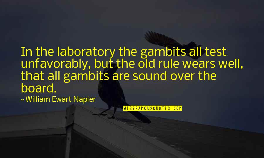 Napier Quotes By William Ewart Napier: In the laboratory the gambits all test unfavorably,
