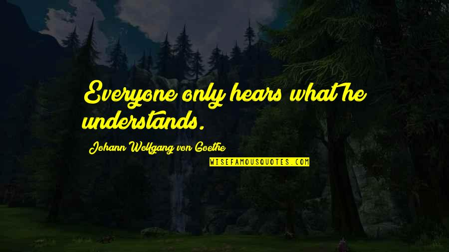 Narcissistic Boyfriends Quotes By Johann Wolfgang Von Goethe: Everyone only hears what he understands.