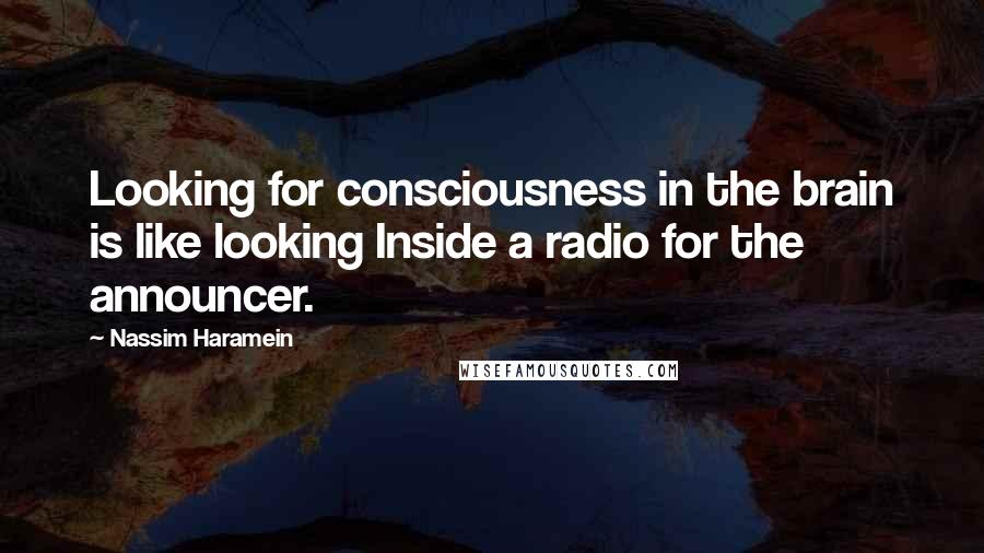 Nassim Haramein quotes: Looking for consciousness in the brain is like looking Inside a radio for the announcer.