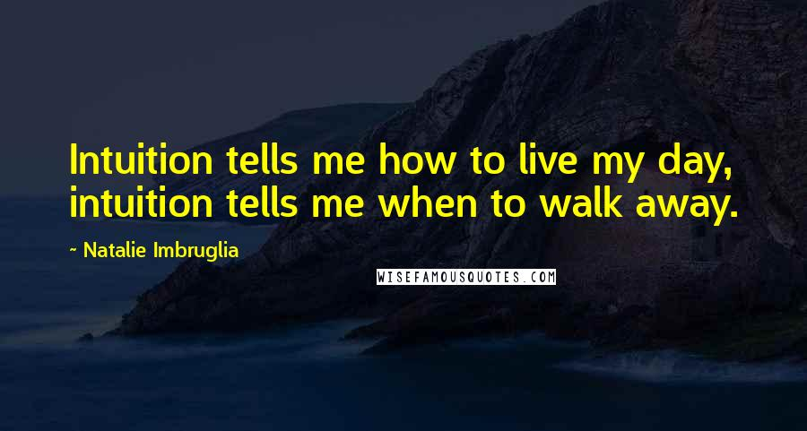 Natalie Imbruglia quotes: Intuition tells me how to live my day, intuition tells me when to walk away.