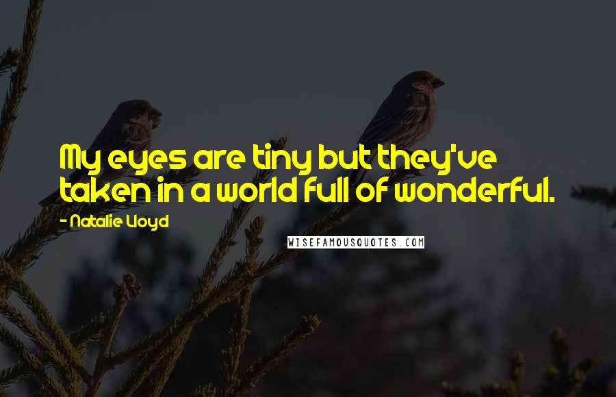 Natalie Lloyd quotes: My eyes are tiny but they've taken in a world full of wonderful.
