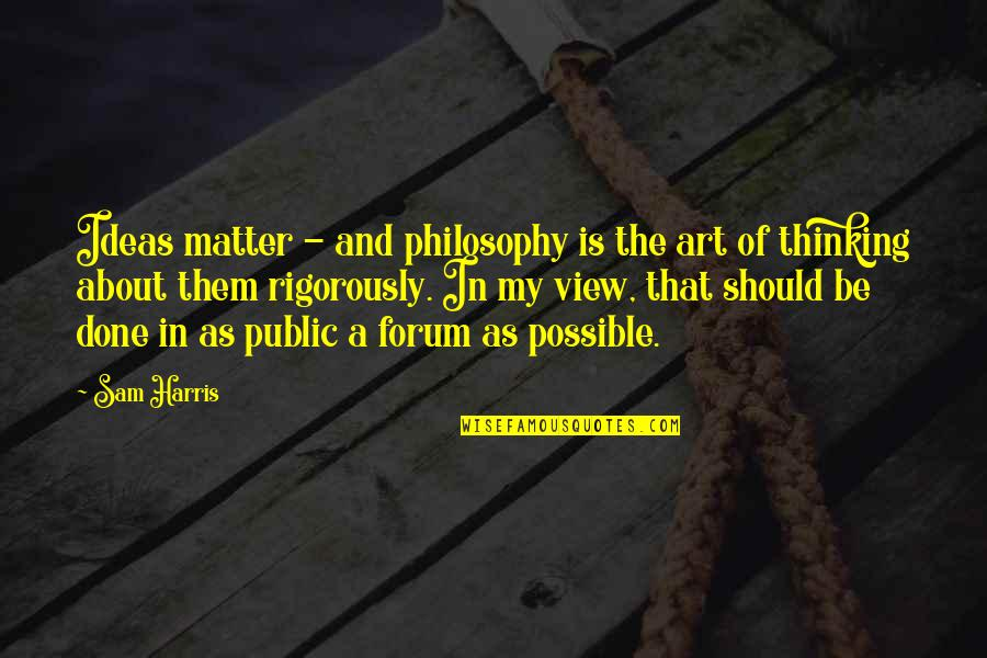 Natasha Romanoff Funny Quotes By Sam Harris: Ideas matter - and philosophy is the art