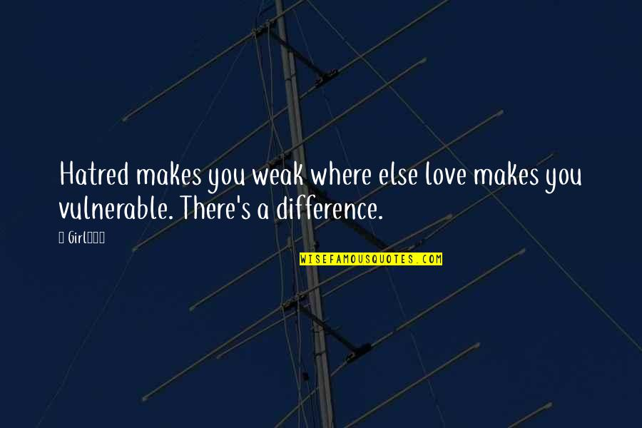 Nathaniel Bowditch Quotes By Girl234: Hatred makes you weak where else love makes