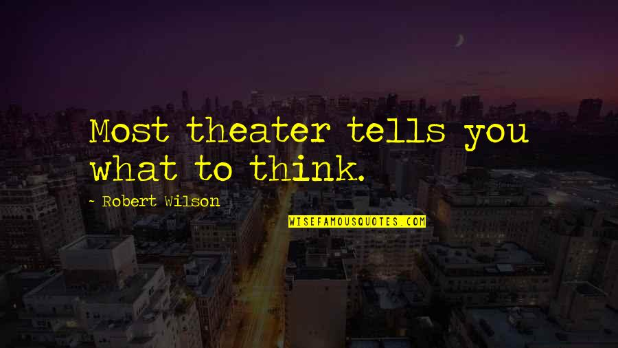 Nathaniel Bowditch Quotes By Robert Wilson: Most theater tells you what to think.