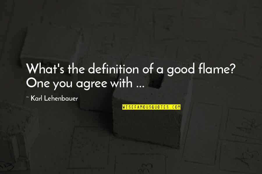 National Day Of Prayer Quotes By Karl Lehenbauer: What's the definition of a good flame? One