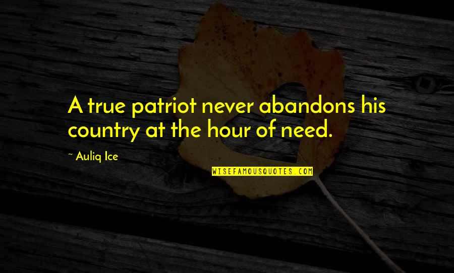Nationalism And Patriotism Quotes By Auliq Ice: A true patriot never abandons his country at