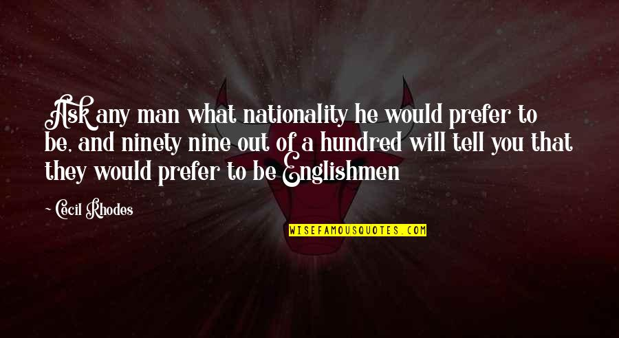 Nationality's Quotes By Cecil Rhodes: Ask any man what nationality he would prefer