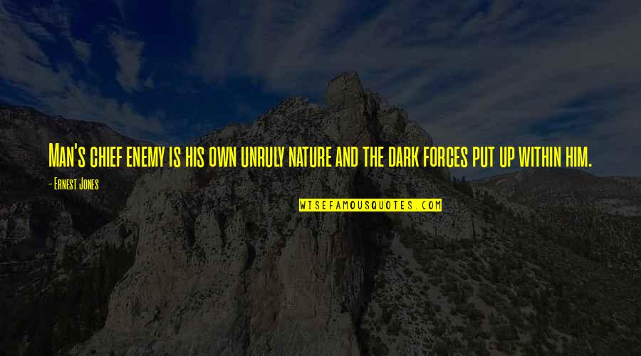 Nature And Man Quotes By Ernest Jones: Man's chief enemy is his own unruly nature
